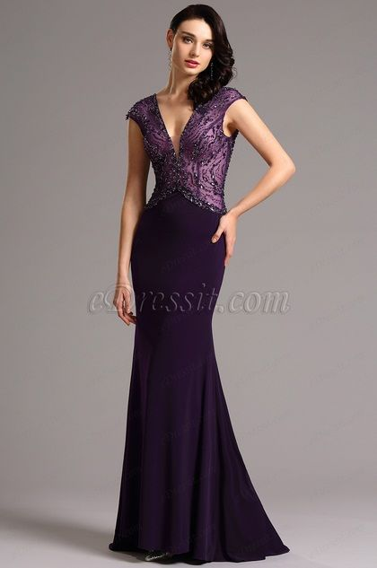 Capped Sleeves Beaded Bodice Purple Evening Gown 36161506
