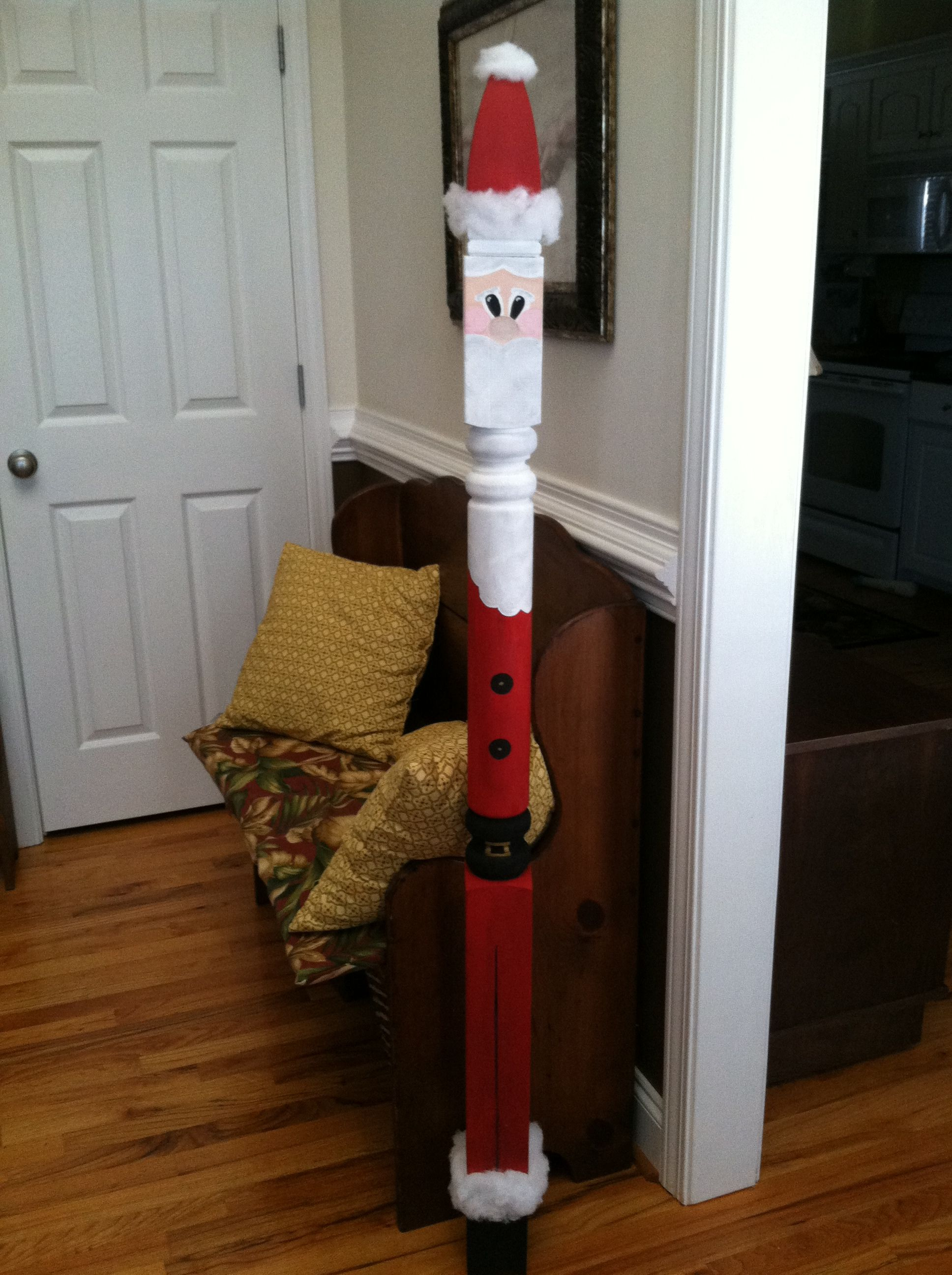 Fence Post Painted To Look Like Santa Fence Post