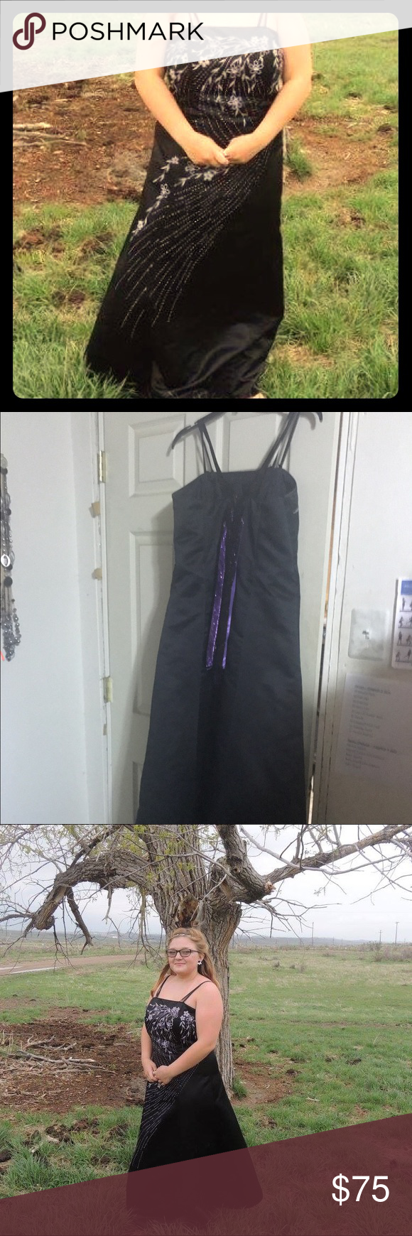 Black, long, floral dress with purple and silver Floor length, with ...