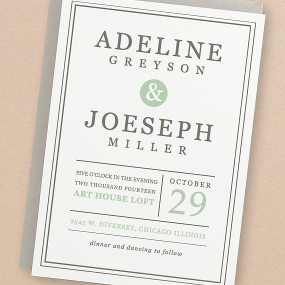 Instant Download - Mint Type - DIY Printable Wedding Invitation - pages invitation templates free
