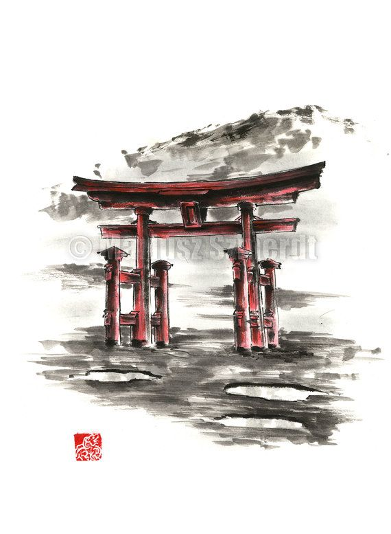 Attractive Japanische Torii Hauptdekor. Aquarell Illustration Geschenk Idee.  Japanische Bild Hauptdekor.