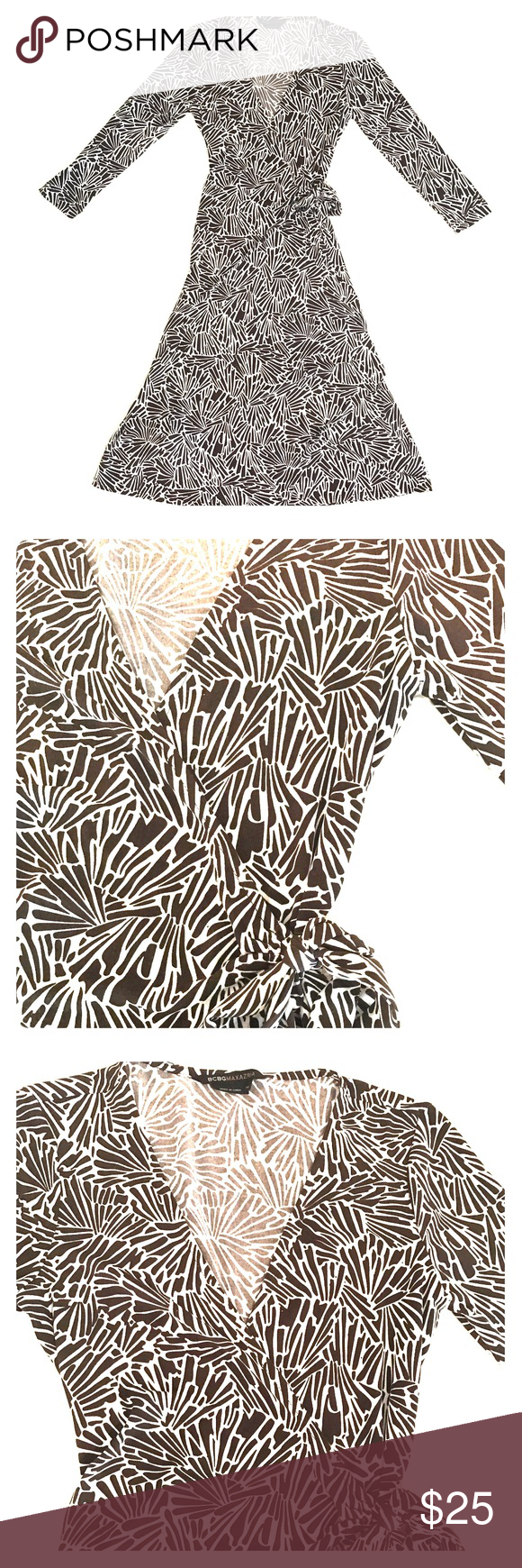 """BCBGMAXAZRIA wrap around dress Brown and white BCBGMAXAZRIA wrap around dress. 3/4"""" sleeves; knee length. Has been worn a few times but still in good condition! Great for a dressy night out to dinner or around the town! BCBGMaxAzria Dresses"""