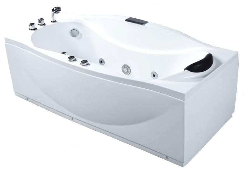EAGO AM189-L White Acrylic Left Drain 6\' Whirlpool Jetted Bathtub ...