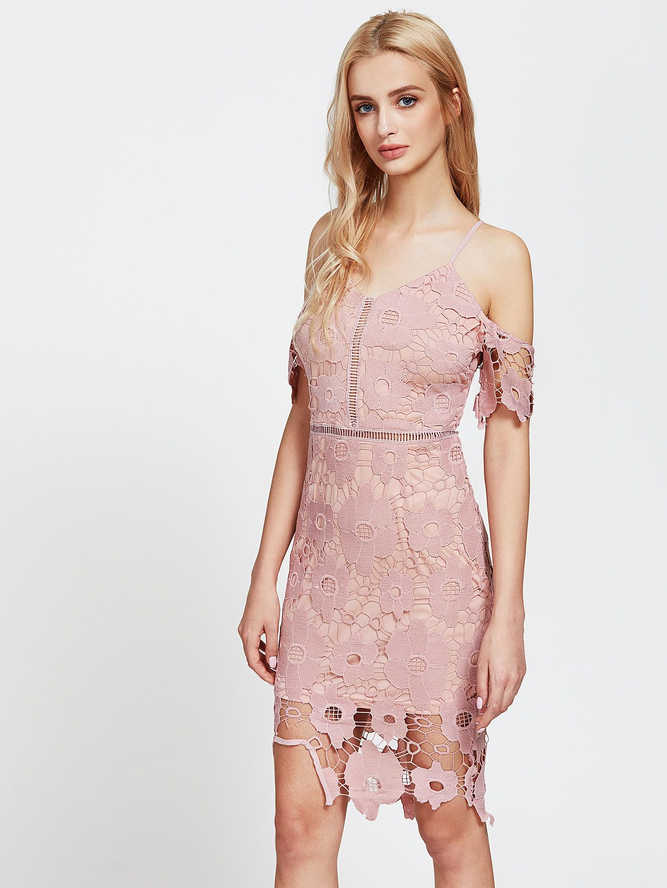 Shop Cold Shoulder Lace Overlay Sheath Dress online. SheIn offers ...