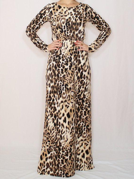 65fb005f2af7 Leopard print maxi dress with sleeves cheetah print dress maxi dress ...