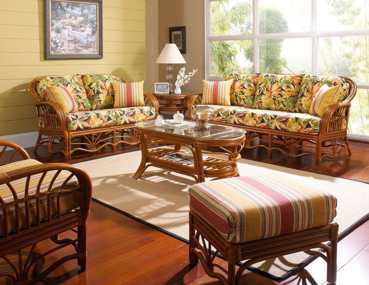 South Sea Rattan Palm Harbor Indoor Living Room Set ... on Patio Living Room Set id=51315