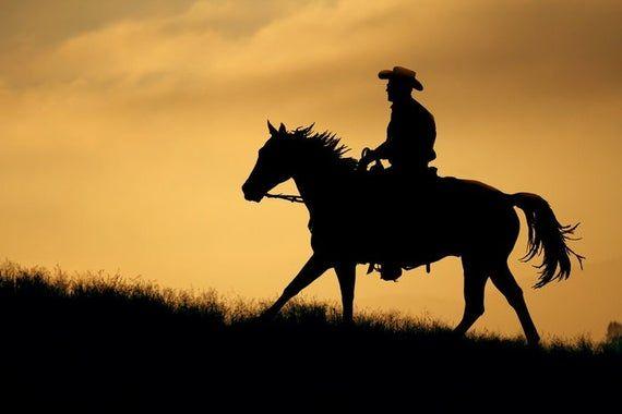 Photo of Silhouette der Cowboy- und Pferdefotografie A-91840 (6 Größen …