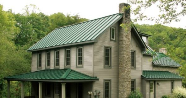 Exterior house colors green roof google search cabin - Exterior paint colors with green metal roof ...
