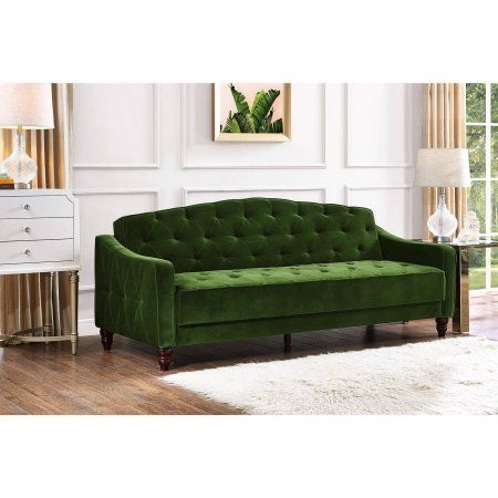 Amazon Com Novogratz Vintage Tufted Sofa Sleeper Ii Green Velour Kitchen Amp Dining Tufted Sofa Best Sofa Furniture