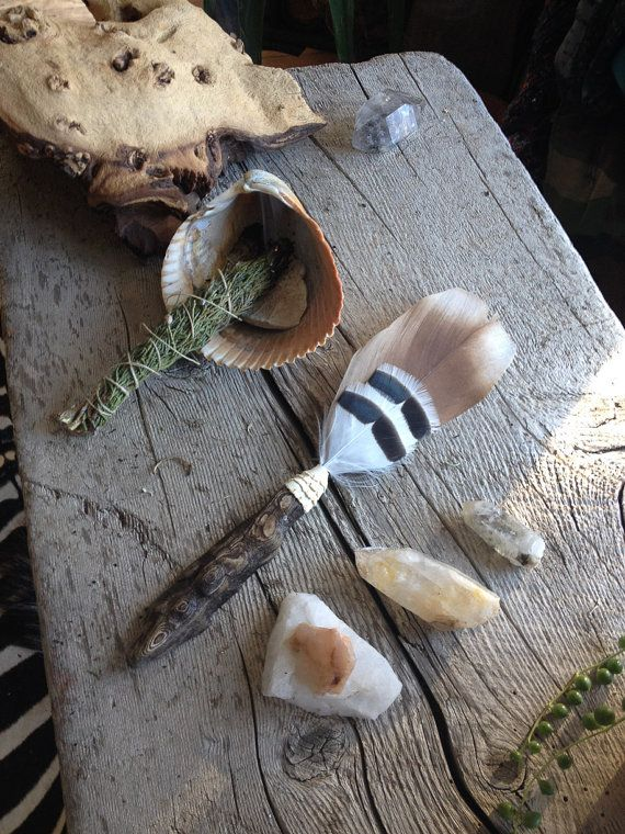 Beautiful Driftwood and Feather Fan with White Leather - Smudge Fan