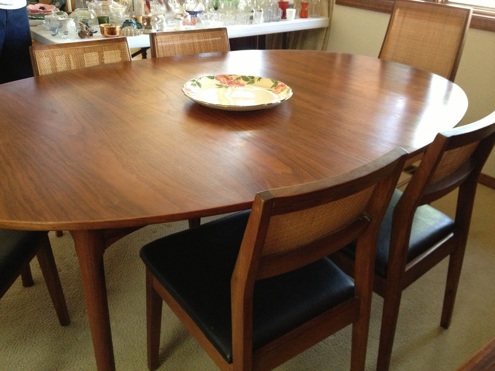 Knoll Founders Mid Century Table And Chairs Dining Walnut Cane