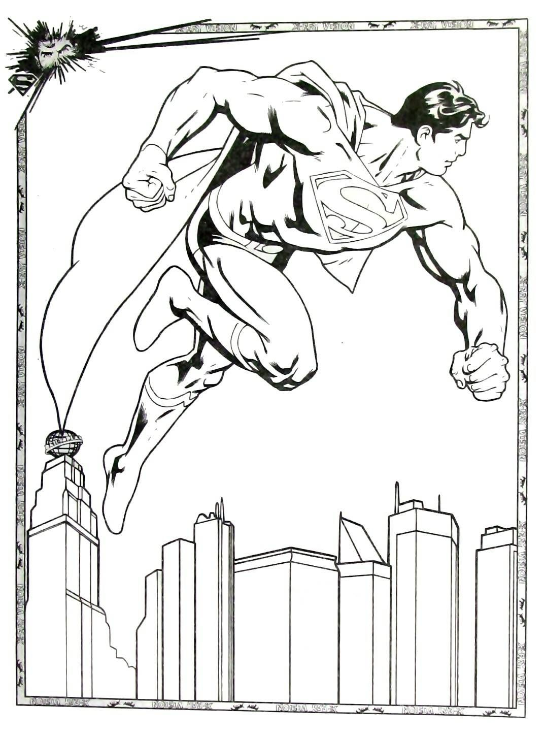 Superman Flying Coloring Book Page Printable Superman Coloring Art