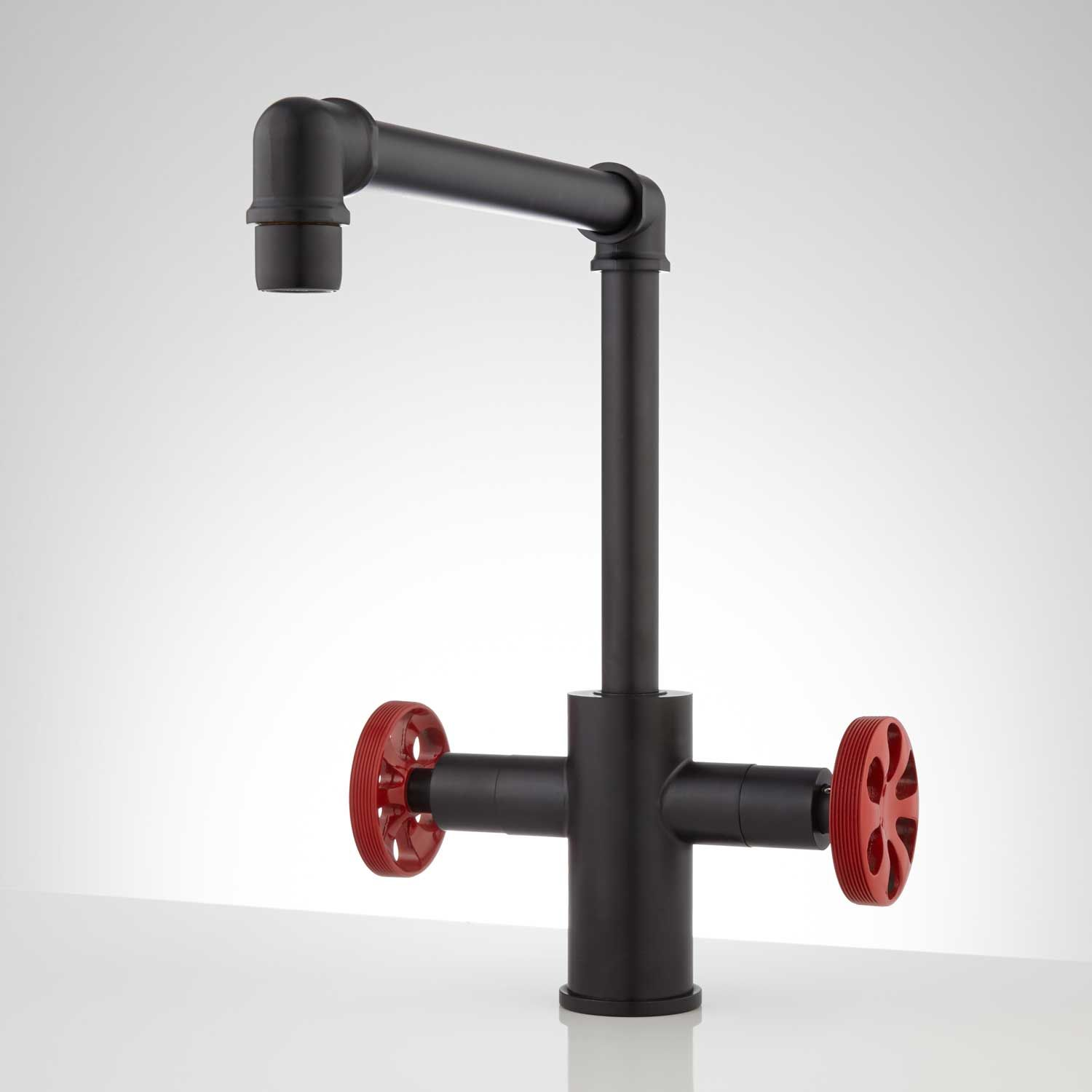 Edison single hole dual handle kitchen faucet black with red handles
