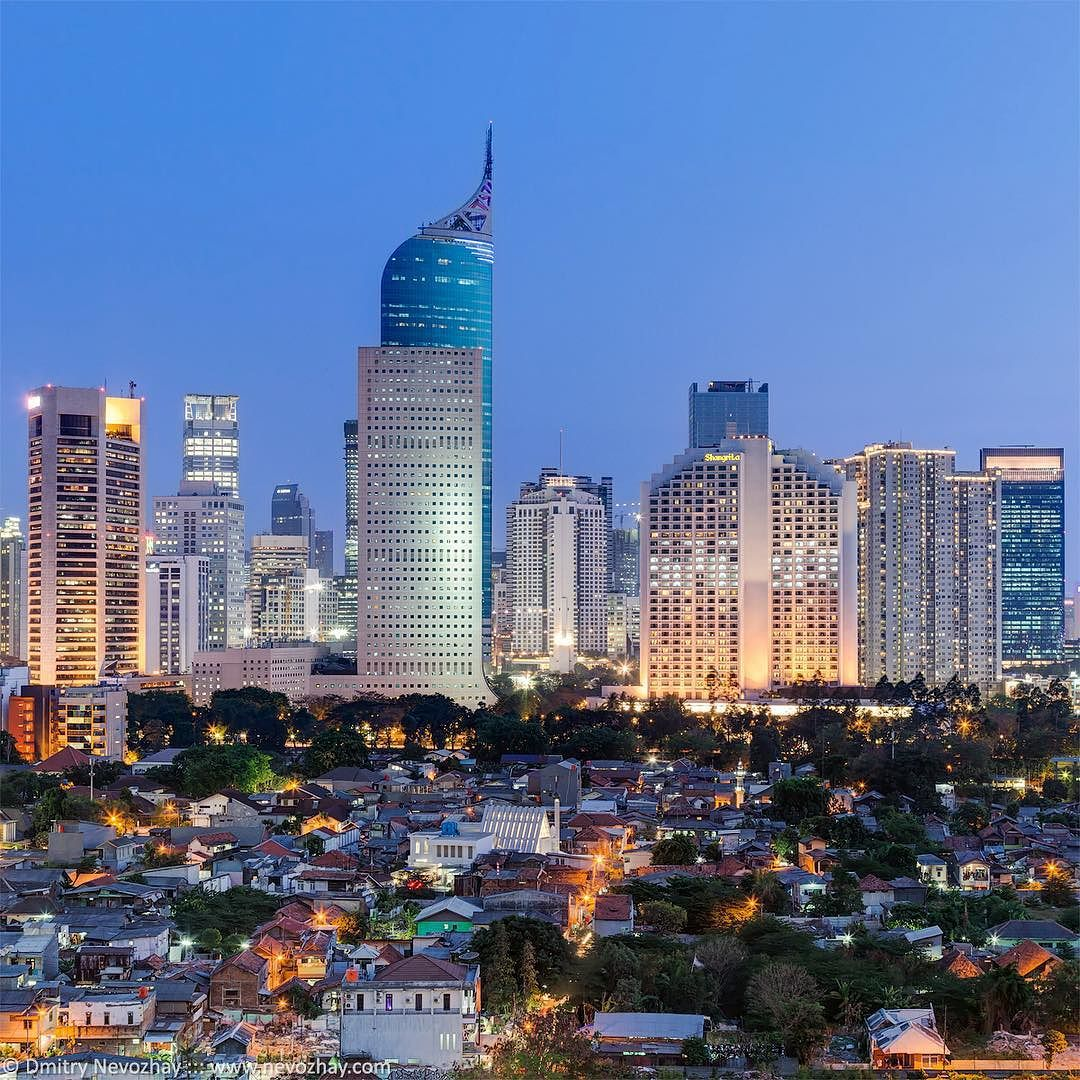 Panorama of Jakarta capital of Indonesia with its tallest