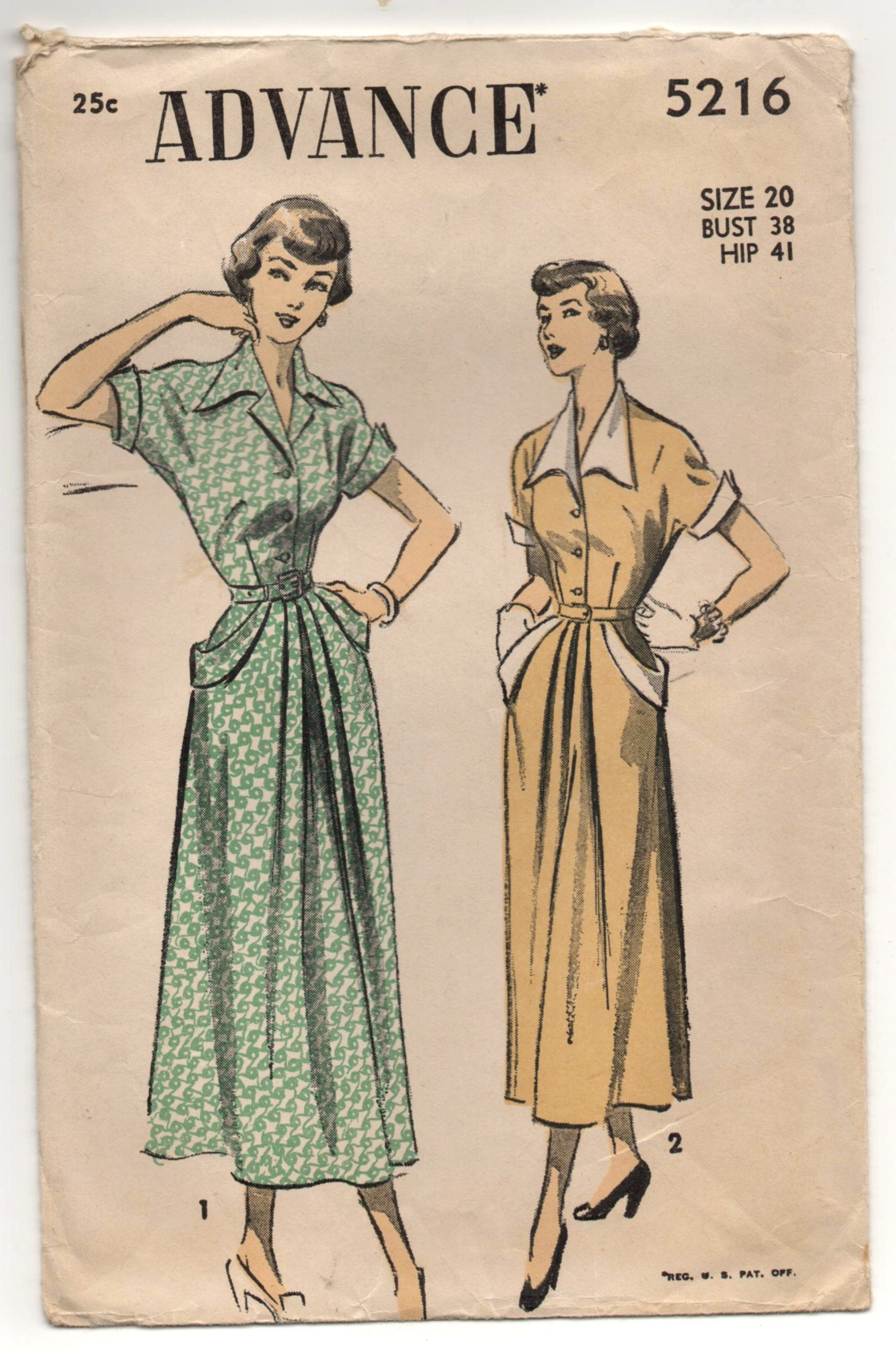 """1950's Advance One-Piece Dress with Short sleeves, Cuffs, and Pockets Pattern - Bust 38"""" - No. 5216 by backroomfinds on Etsy"""