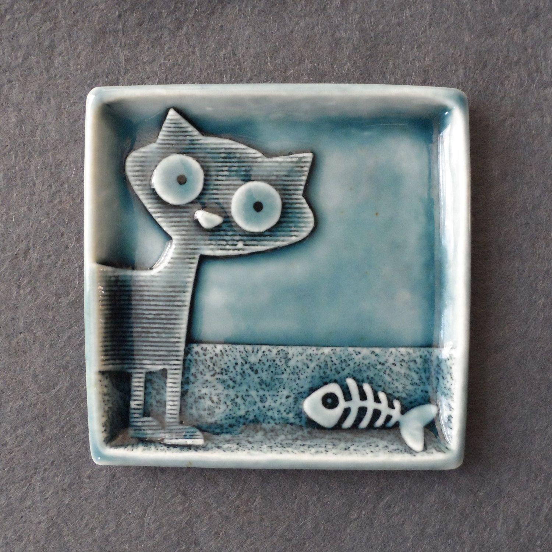 Кошка кольцо блюдо ручной работы фарфора небольшой по