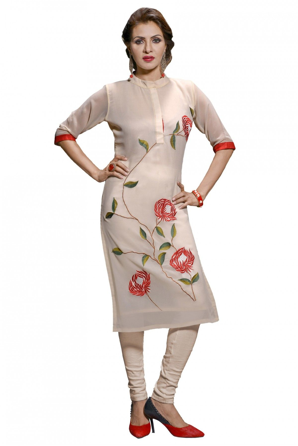 db68e837d4 This lovely kurti strives in the color off white fabricated in georgette.  Its gorgeous front gold design makes it extraordinary and a total modern  party ou.