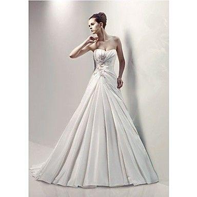 A-line Sweetheart Court Train/Floor-length Wedding Dress (Satin Chiffon) – USD $ 249.99