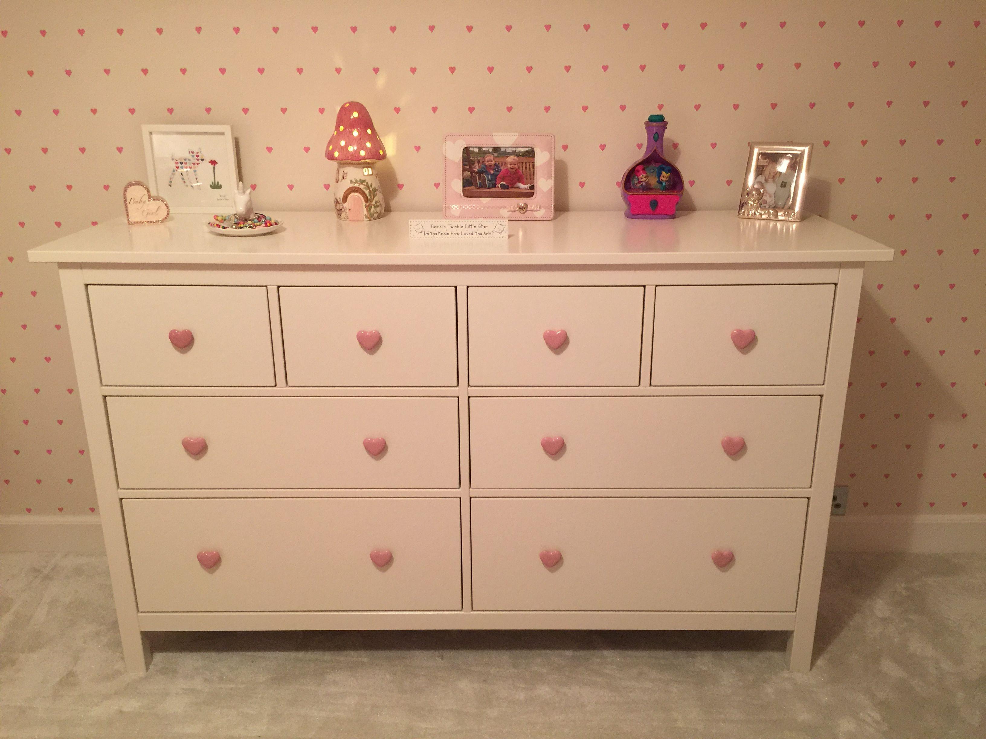 Ikea hack Hemnes with Gisela Graham pink ceramic love heart handles ...