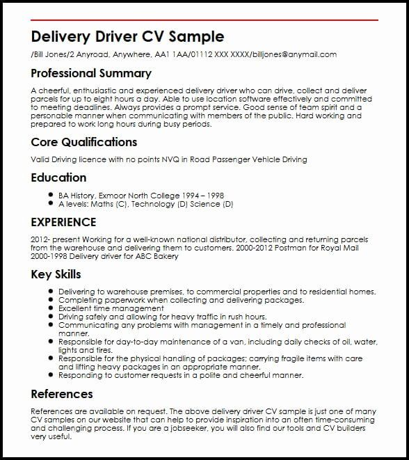 Food Delivery Driver Resume Unique Delivery Driver Cv Sample Driver Job Job Resume Samples Resume Examples