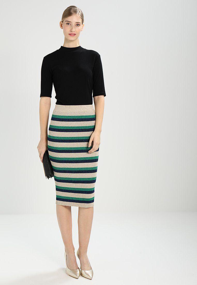 7ac7414d5dd53f CATALINA - Spódnica ołówkowa - gold stripe   multi color skirt ...