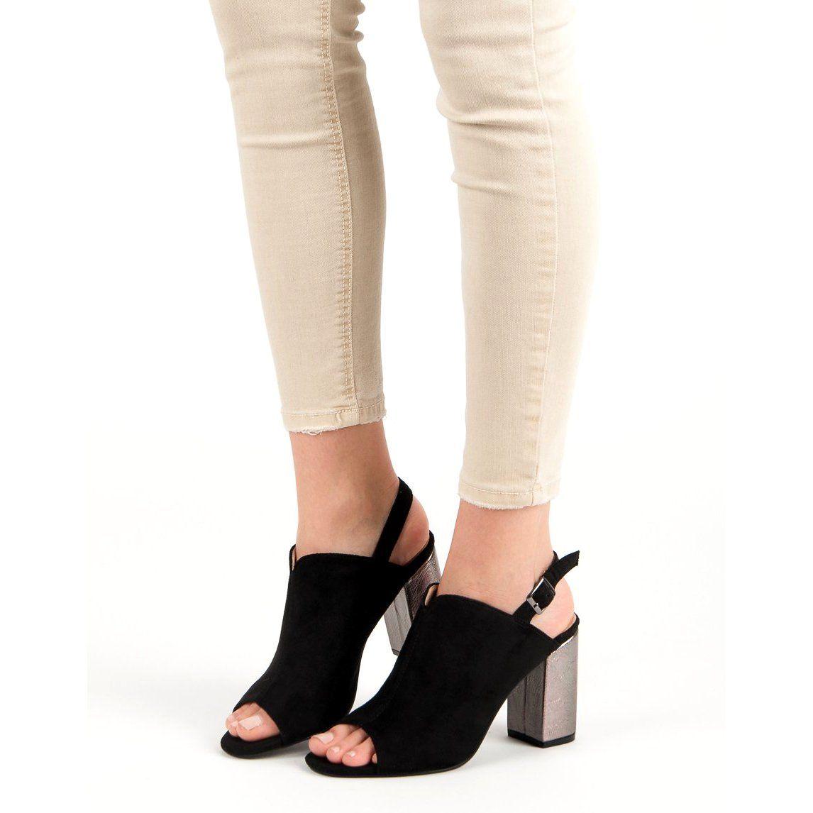 Zabudowane Sandaly Na Slupku Vinceza Czarne Plastic Heels Womens Sandals Sandles