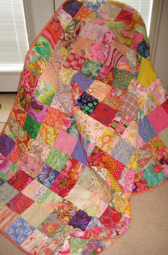 Traditional Patchwork Quilt Throw Blanket Bold By PeppersAttic Unique How To Make A Quilted Throw Blanket