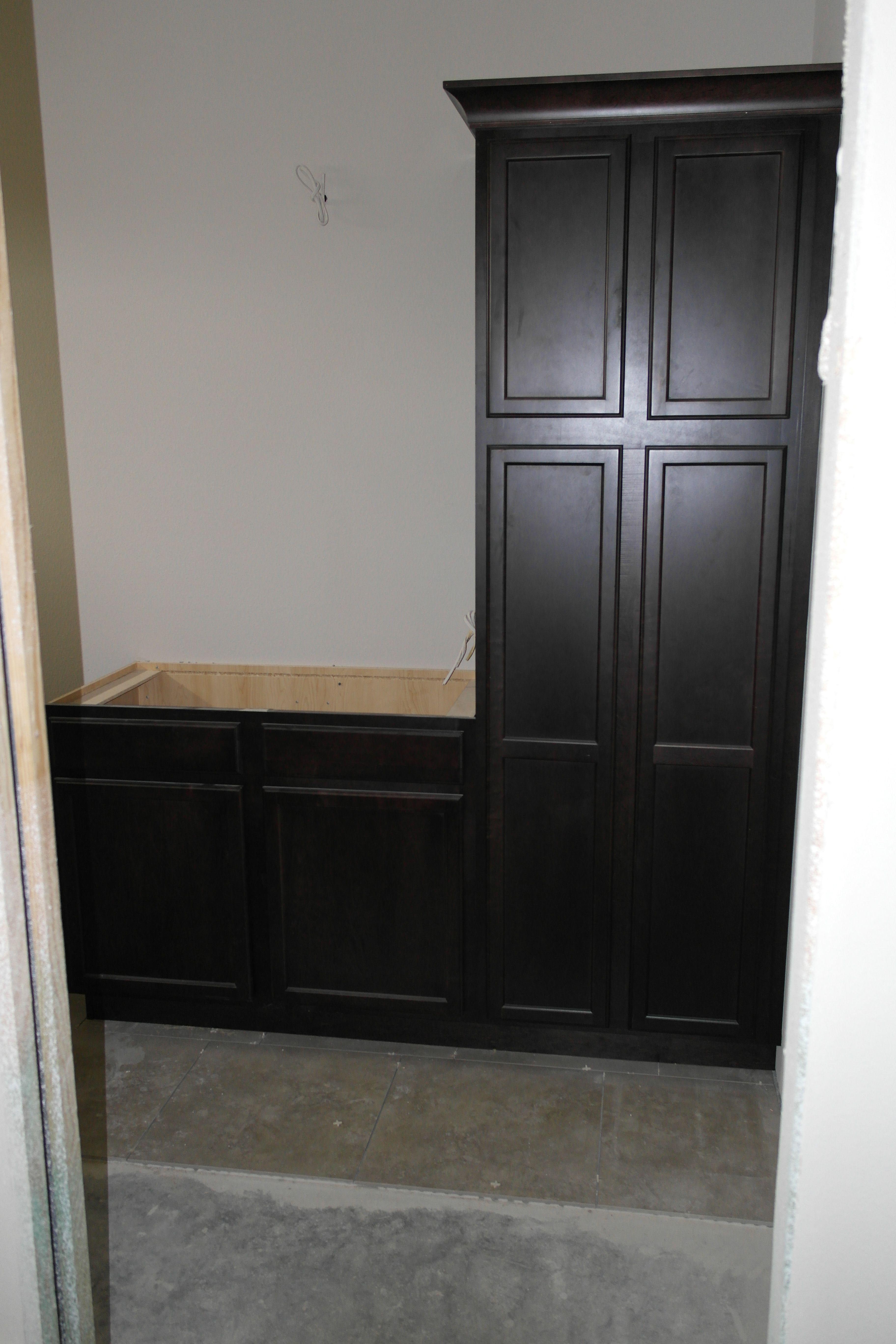 built in linen closet and vanity in bathroom 2 under construction rh pinterest com Bathroom Linen Closet with Vanity Combo Bath Linen Closet with Vanity