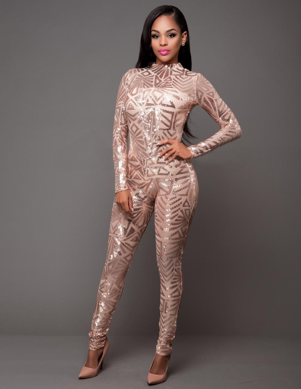1a716be2ac Spring Women Sequin Jumpsuit Sexy O-Neck Mesh Patchwork Bodysuit Glitter  Long Sleeve Romper Women Party Club Catsuit N272. Yesterday s price  US   31.14 ...