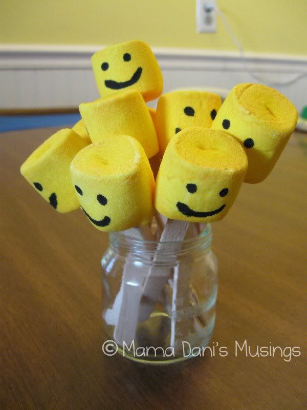 mix yellow food coloring with water and paint the marshmallows ...