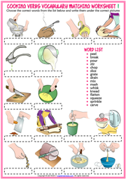 Cooking Verbs Vocabulary Matching Exercise Worksheets | Education ...