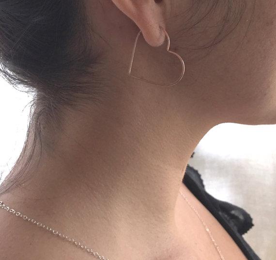 Small Heart Hoops Hoop Earrings In Sterling Silver Gold Or Rose