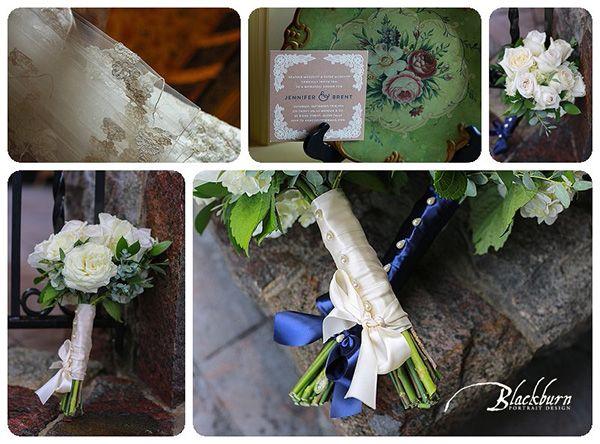 Lake George Club Wedding Photo Image by Susan Blackburn Copyright Blackburn Portrait Design susanblackburn.biz #lakegeorgephotographer #weddingphotos #rainydayweddingphotos Wedding Flowers Bridal Bouquets Ribbons and pearls White Roses