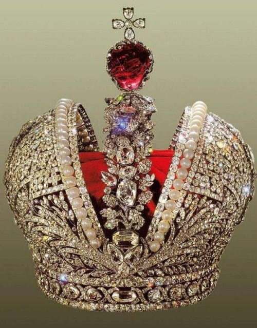 ~ Imperial Russian Crown Jewels & A very rare green diamond set upon a cloud of white diamonds ~