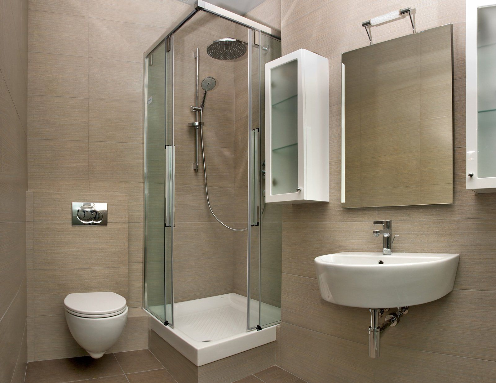 Bathroom Inspiring Small Space Bathroom With Corner Shower Stalls And Modern Toilet Also Sin Small Bathroom With Shower Simple Bathroom Modern Small Bathrooms