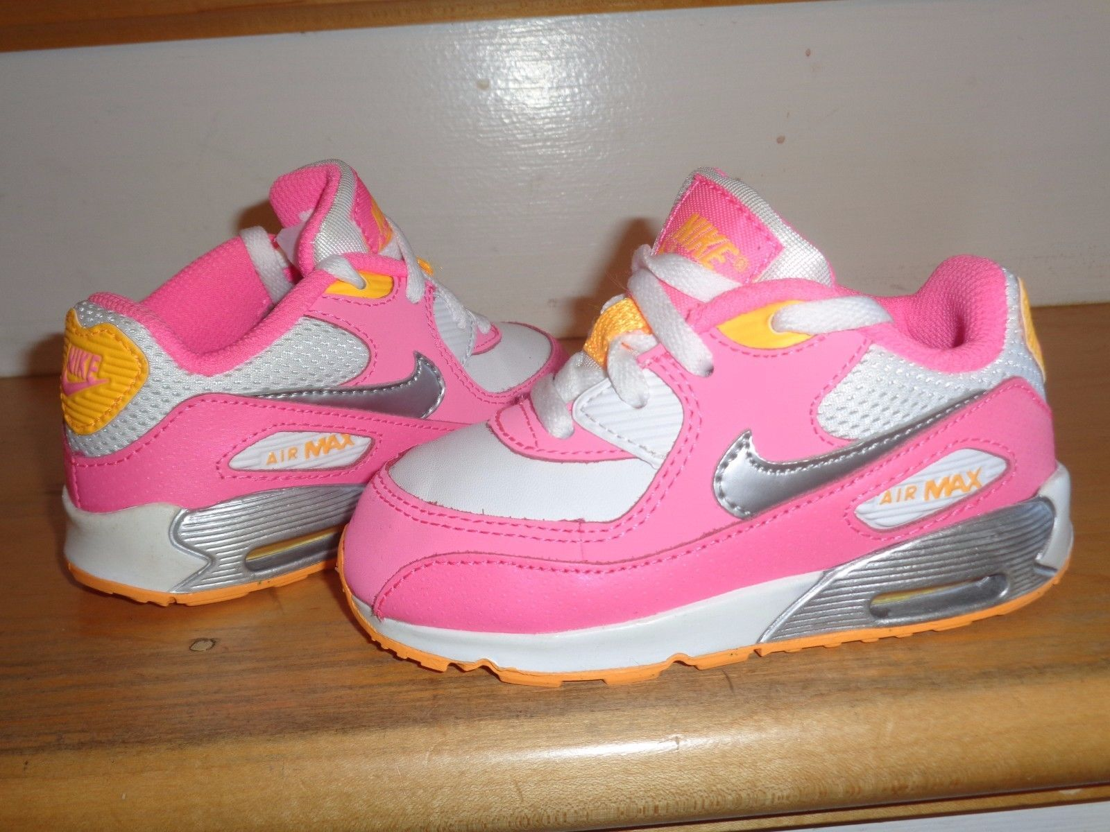 MINT NIKE AIR MAX 90 PINK-YELLOW-WHITE-SILVER 408112-120 GIRLS