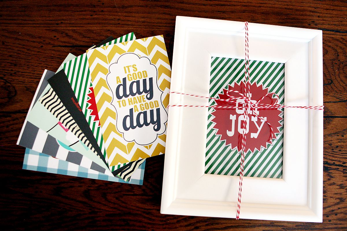 Inexpensive and Easy Gift Idea: Grab your favorite Dollar Tree frame and print out these adorable graphic printables. Frame the image that corresponds to the season and package the others up in a pretty envelope. Wrap the whole gift and give to friends & family. They now have a gift that will live in their house year-round!