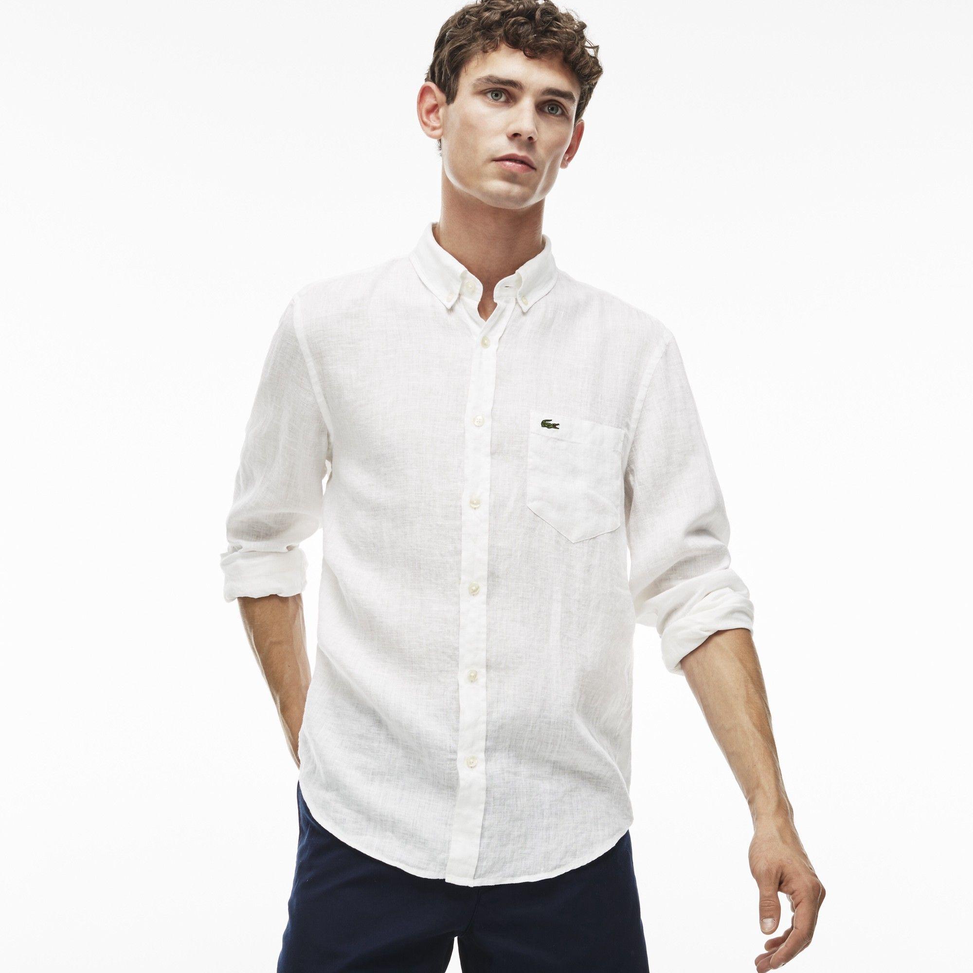 9d8d634341 LACOSTE Men's Linen Shirt - white. #lacoste #cloth # | Lacoste Men ...