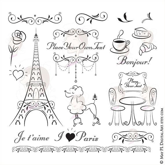 Paris Eiffel Tower Bonjour Clip Art French Flourish Ornate Frame Poodle Cafe Table Chairs Coffee Croissant Commercial Use Vector Png 10752