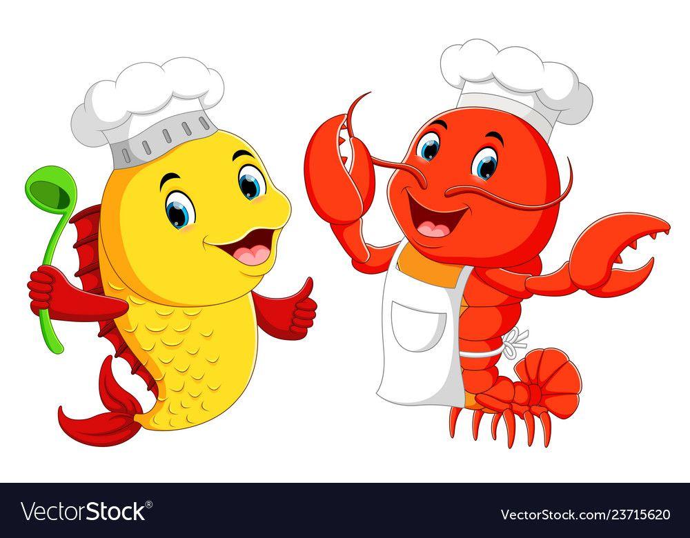 Cute Lobster Chef And Fish Chef Cartoon Royalty Free Vector Animated Clipart Cartoon Fish Cartoons Vector