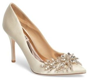 5553e065478 White Ivory Bride wedding shoes high heels- Women s Badgley Mischka Marcela  Pointy Toe Pump
