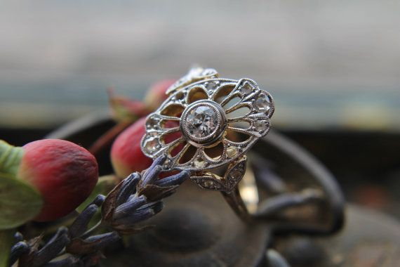 Antique Diamond Ring Edwardian Rose Cut by TheNorthWayStudio