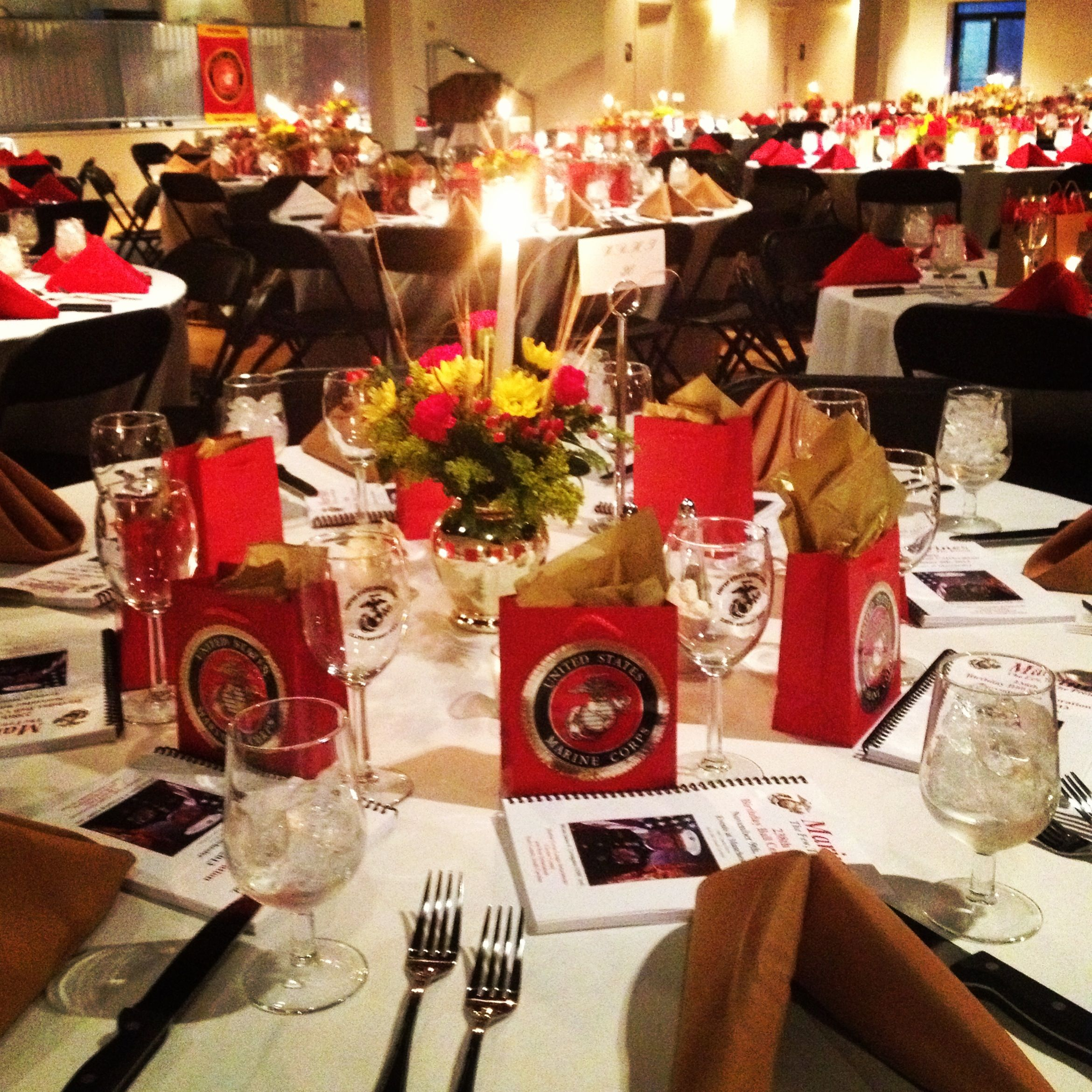Tablescape from the Marine Corps Ball in 2019 Marine