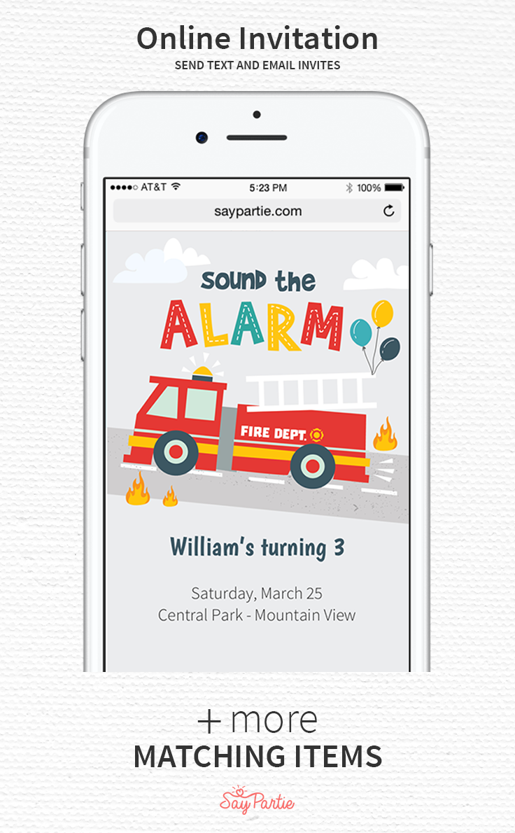 Send Text And Email Invites With Our Fire Truck Online Invitation