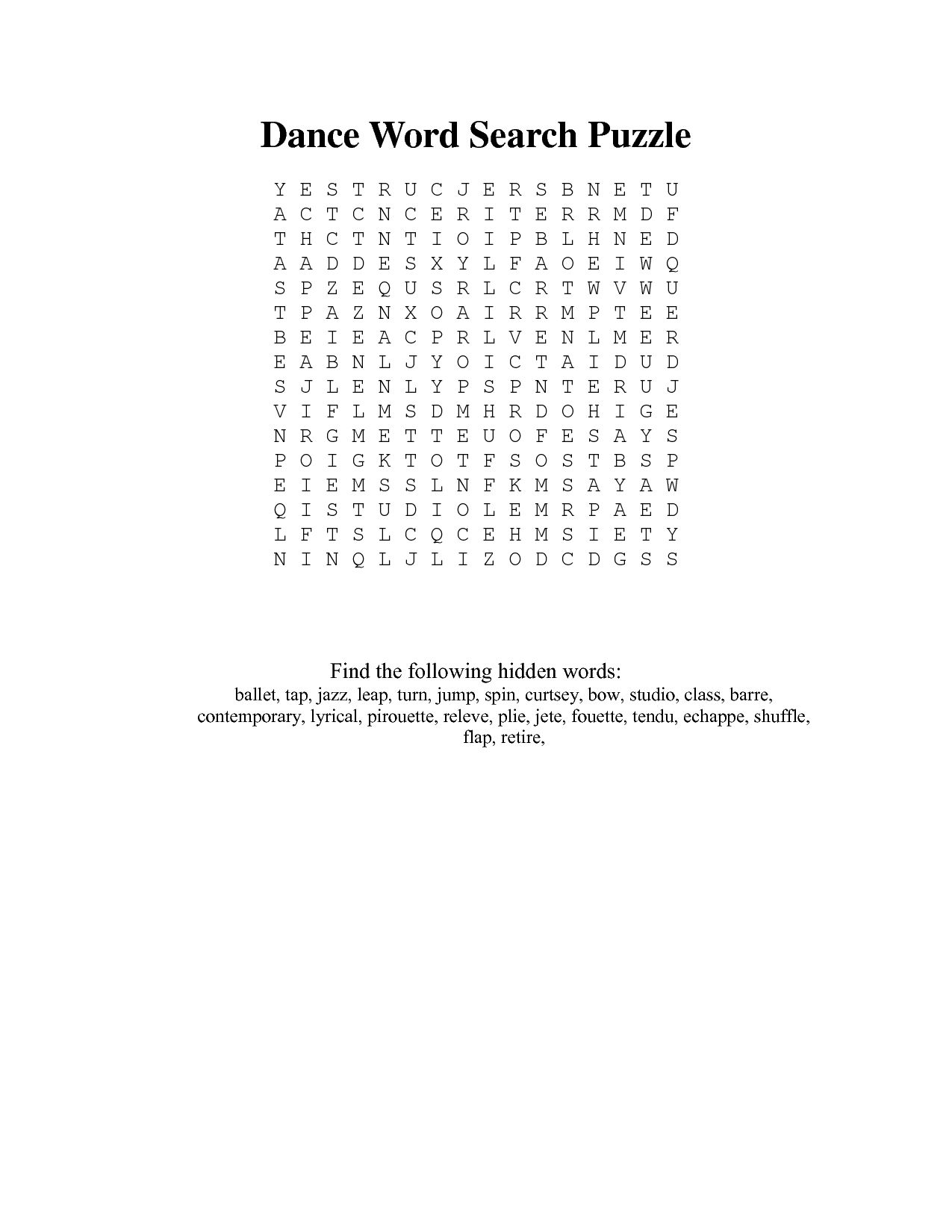 Dance Word Search Printable any and All Word searches