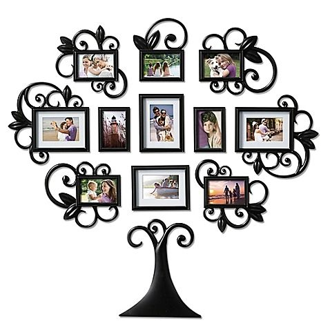 Wallverbs Trade 12 Piece Scroll Tree Photo Frame Set In Black Family Tree Wall Art Family Tree Photo Frame Family Photo Frames Collage