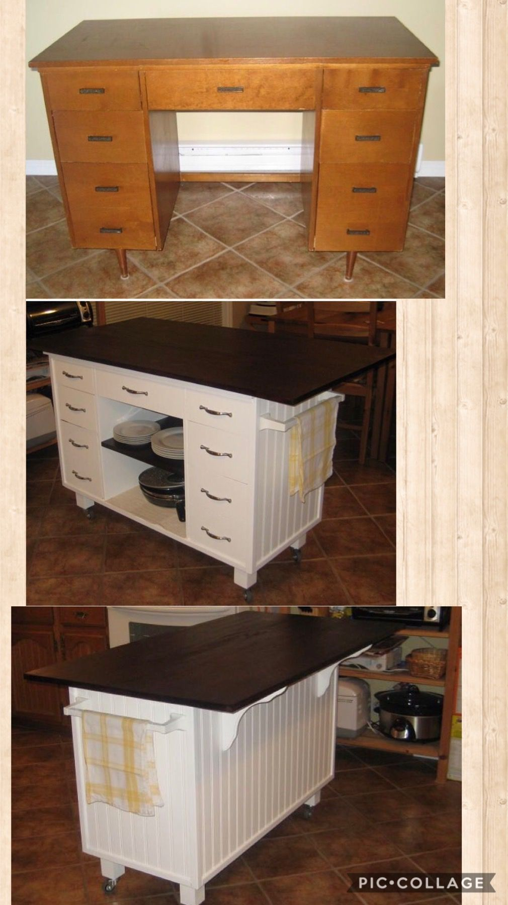Transformation D Un Bureau De Maitre D Ecole En Ilot De Cuisine Deco Diy Upcycling Meuble Peint Redo Furniture Furniture Makeover Home Diy
