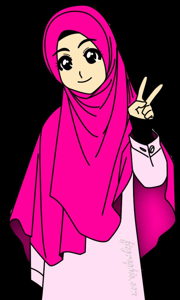 93 Gambar Gambar Kartun Lucu Hijab Paling Keren