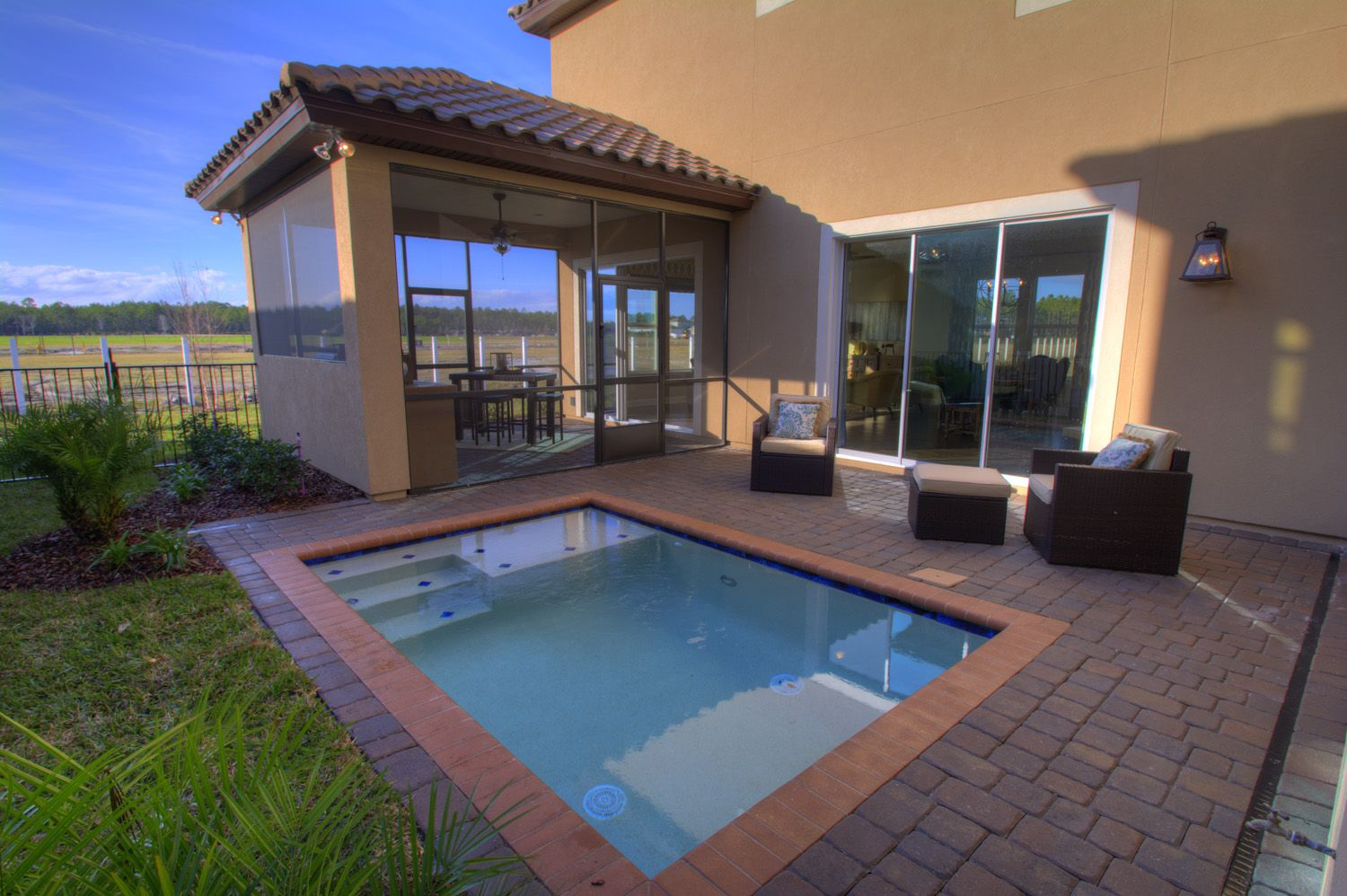The Seville Model By ICI Homes In Siena At Town Center Offers A Dipping Pool