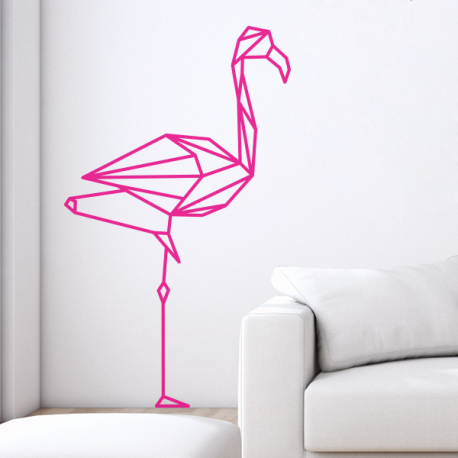 Sticker mural flamant rose g om trique en origami - Stickers flamant rose ...